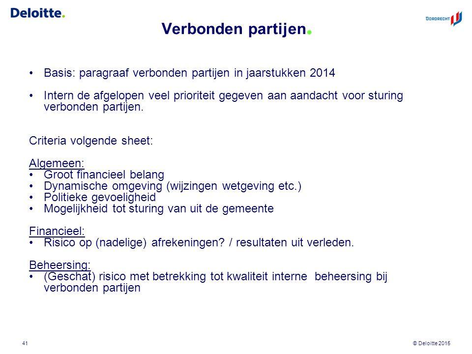 © Deloitte 2015 Verbonden partijen. 41 Basis: paragraaf verbonden partijen in jaarstukken 2014 Intern de afgelopen veel prioriteit gegeven aan aandach