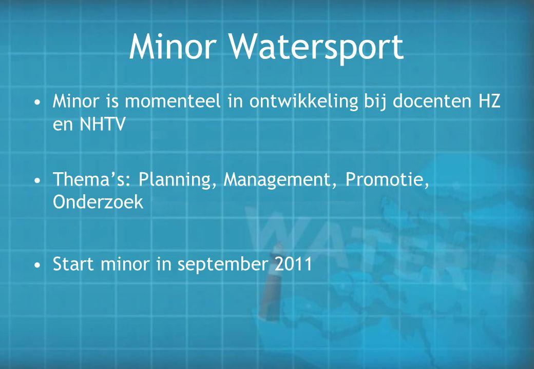 Minor Watersport Minor is momenteel in ontwikkeling bij docenten HZ en NHTV Thema's: Planning, Management, Promotie, Onderzoek Start minor in septembe