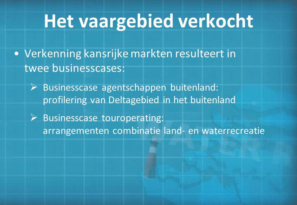 Het vaargebied verkocht Verkenning kansrijke markten resulteert in twee businesscases:  Businesscase agentschappen buitenland: profilering van Deltag