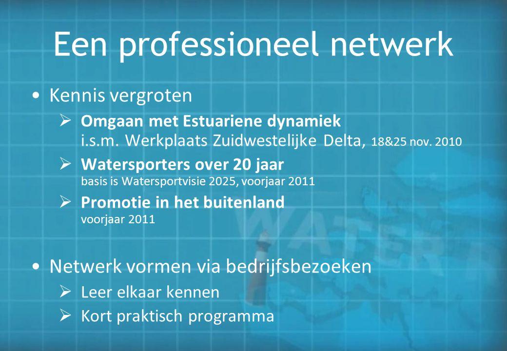 Een professioneel netwerk Kennis vergroten  Omgaan met Estuariene dynamiek i.s.m. Werkplaats Zuidwestelijke Delta, 18&25 nov. 2010  Watersporters ov