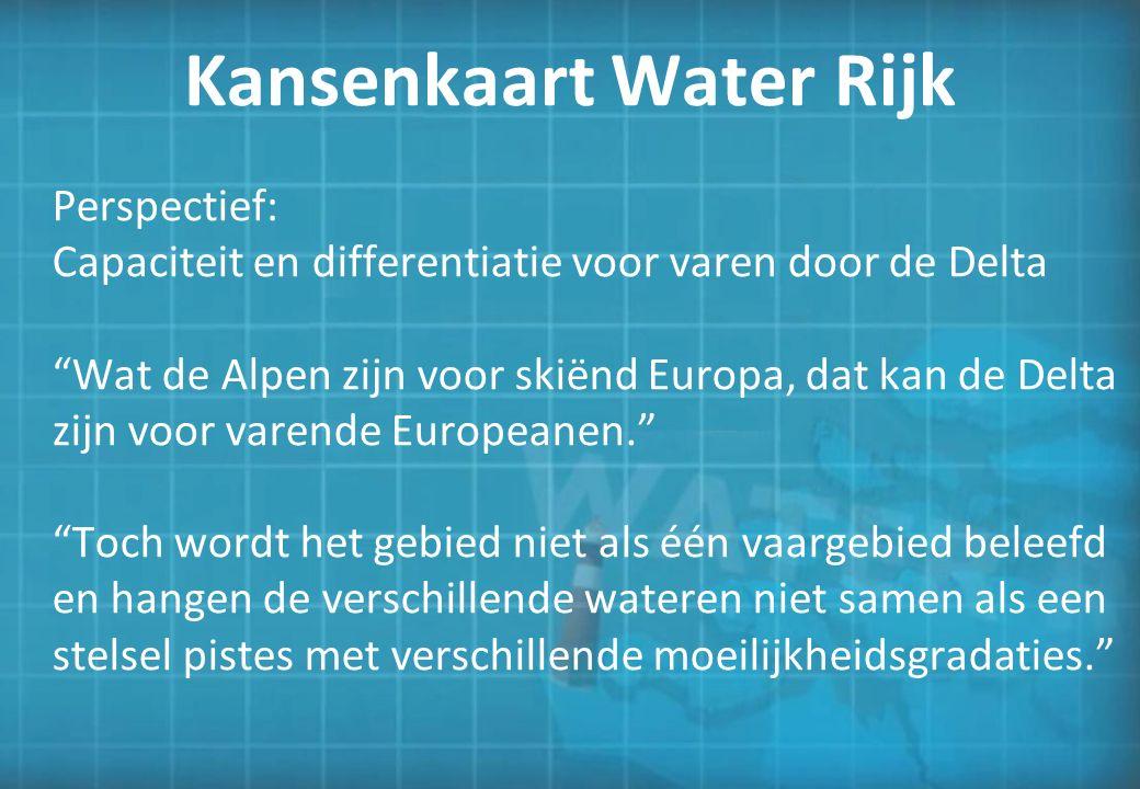Perspectief: Capaciteit en differentiatie voor varen door de Delta Wat de Alpen zijn voor skiënd Europa, dat kan de Delta zijn voor varende Europeanen. Toch wordt het gebied niet als één vaargebied beleefd en hangen de verschillende wateren niet samen als een stelsel pistes met verschillende moeilijkheidsgradaties.