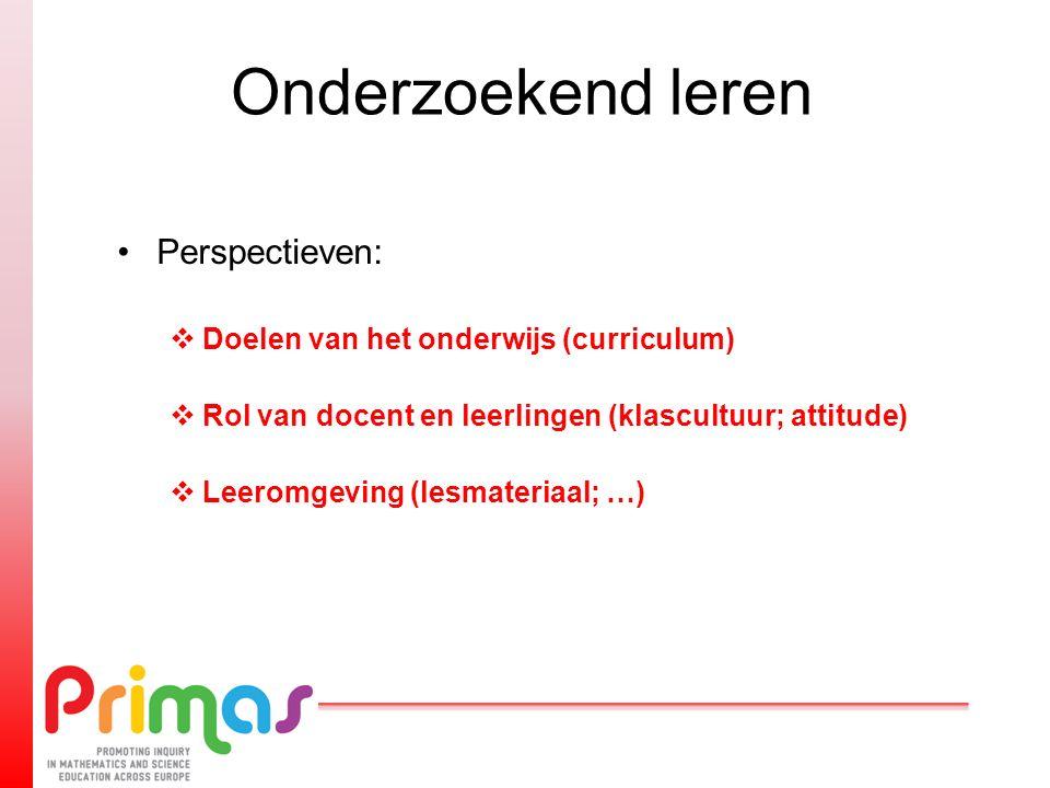 Onderzoekend leren Perspectieven:  Doelen van het onderwijs (curriculum)  Rol van docent en leerlingen (klascultuur; attitude)  Leeromgeving (lesma