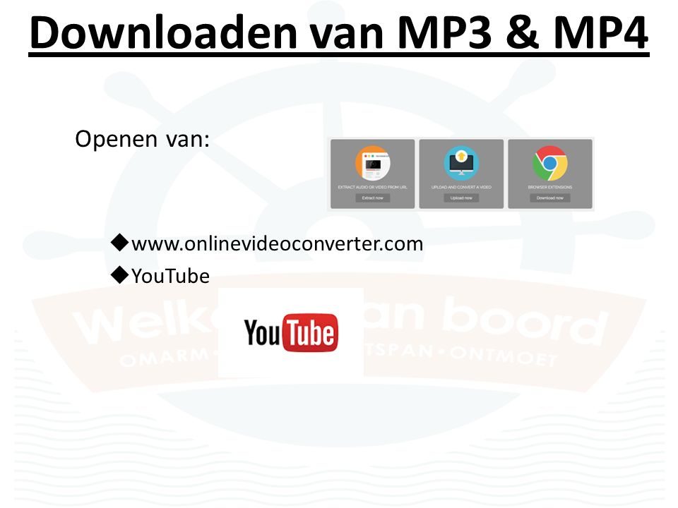 Downloaden van MP3 & MP4 Openen van:  www.onlinevideoconverter.com  YouTube