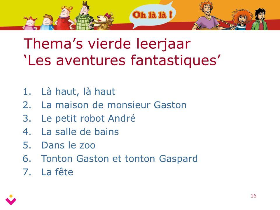16 Thema's vierde leerjaar 'Les aventures fantastiques' 1.Là haut, là haut 2.La maison de monsieur Gaston 3.Le petit robot André 4.La salle de bains 5