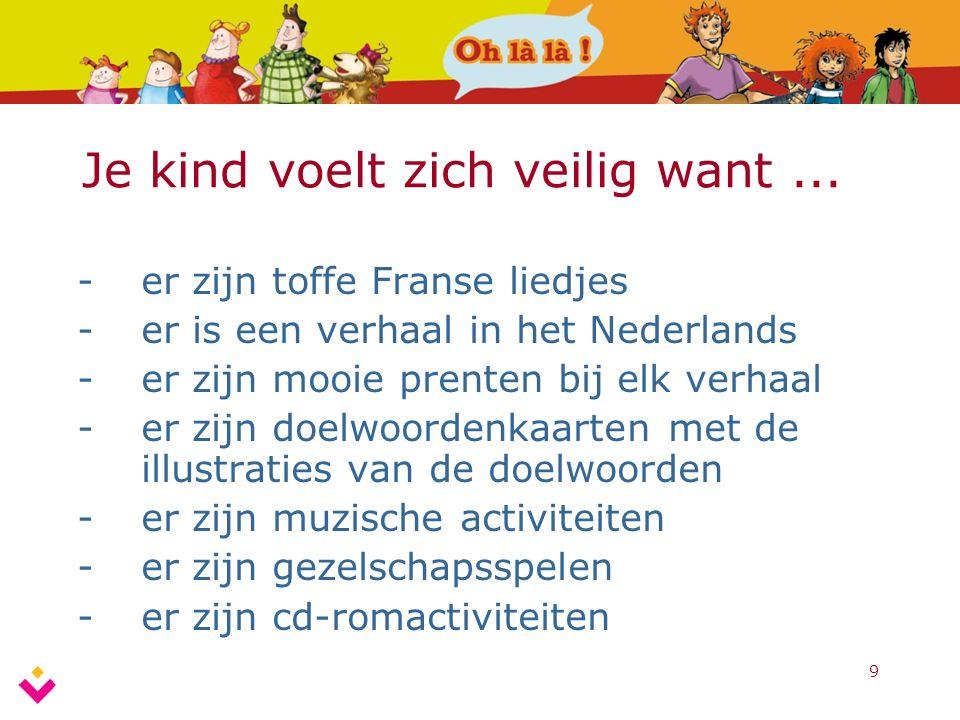 9 Je kind voelt zich veilig want... -er zijn toffe Franse liedjes -er is een verhaal in het Nederlands -er zijn mooie prenten bij elk verhaal -er zijn