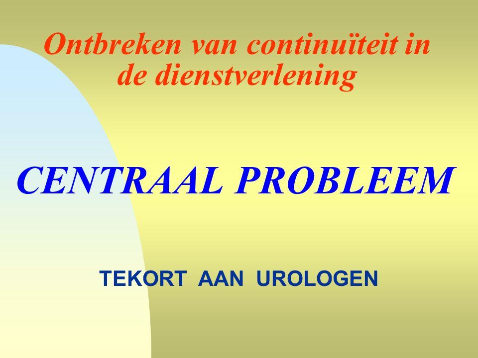 Ontbreken van continuïteit in de dienstverlening CENTRAAL PROBLEEM TEKORT AAN UROLOGEN