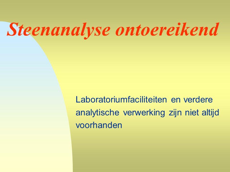 Steenanalyse ontoereikend Laboratoriumfaciliteiten en verdere analytische verwerking zijn niet altijd voorhanden