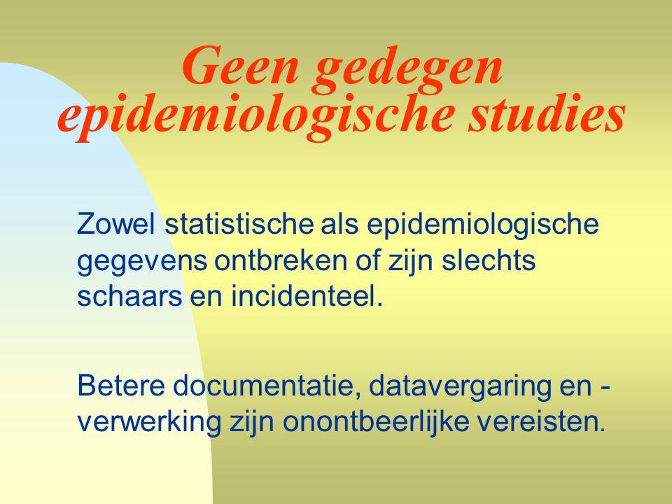 Geen gedegen epidemiologische studies Zowel statistische als epidemiologische gegevens ontbreken of zijn slechts schaars en incidenteel.