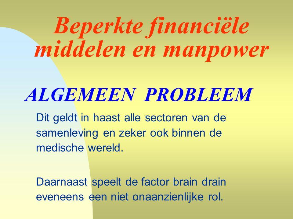 Beperkte financiële middelen en manpower ALGEMEEN PROBLEEM Dit geldt in haast alle sectoren van de samenleving en zeker ook binnen de medische wereld.