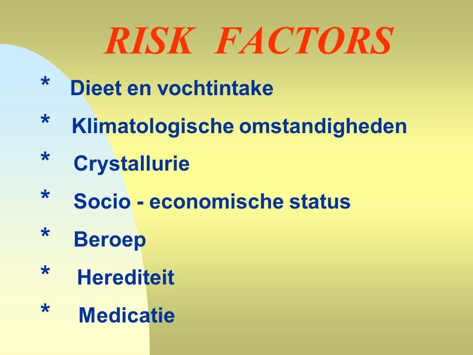 RISK FACTORS * Dieet en vochtintake * Klimatologische omstandigheden * Crystallurie * Socio - economische status * Beroep * Herediteit * Medicatie