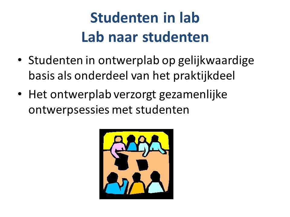 Studenten in lab Lab naar studenten Studenten in ontwerplab op gelijkwaardige basis als onderdeel van het praktijkdeel Het ontwerplab verzorgt gezamenlijke ontwerpsessies met studenten