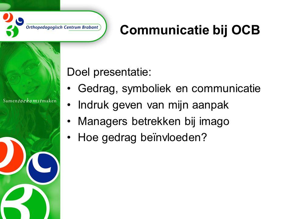 Communicatie bij OCB Doel presentatie: Gedrag, symboliek en communicatie Indruk geven van mijn aanpak Managers betrekken bij imago Hoe gedrag beïnvloe