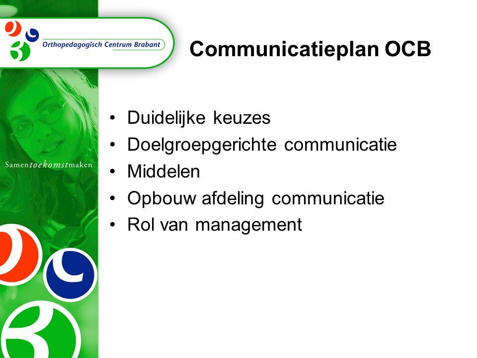 Communicatieplan OCB Duidelijke keuzes Doelgroepgerichte communicatie Middelen Opbouw afdeling communicatie Rol van management
