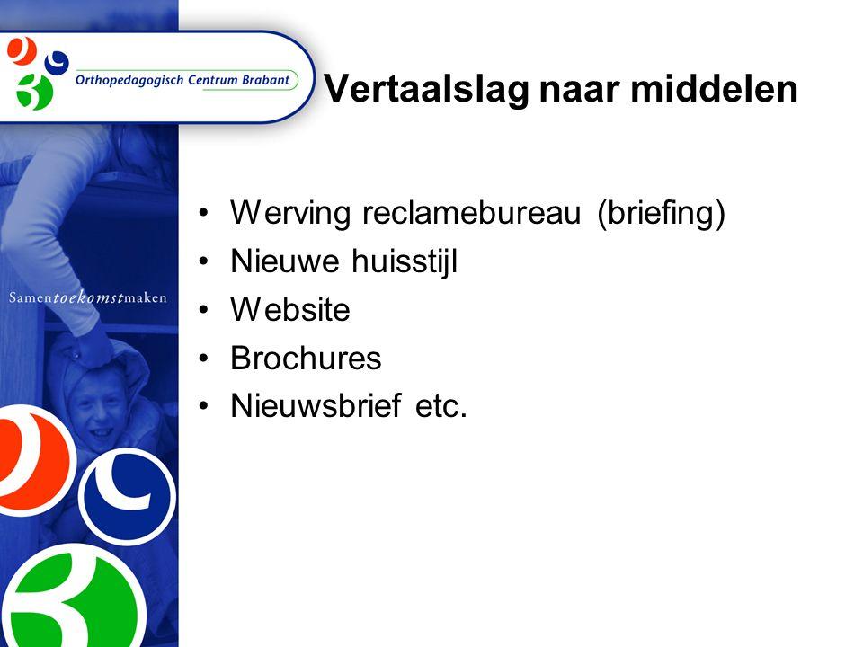 Vertaalslag naar middelen Werving reclamebureau (briefing) Nieuwe huisstijl Website Brochures Nieuwsbrief etc.