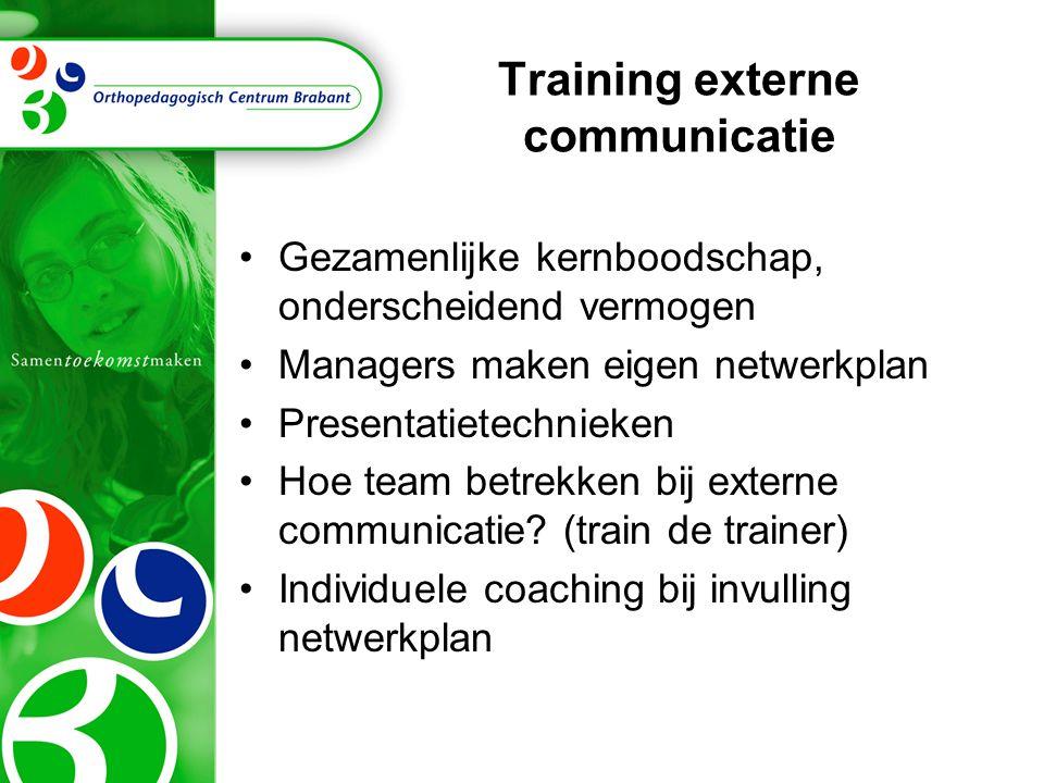 Training externe communicatie Gezamenlijke kernboodschap, onderscheidend vermogen Managers maken eigen netwerkplan Presentatietechnieken Hoe team betr