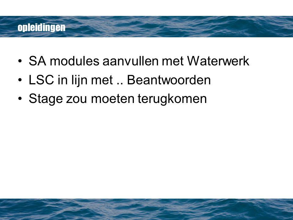 opleidingen SA modules aanvullen met Waterwerk LSC in lijn met..