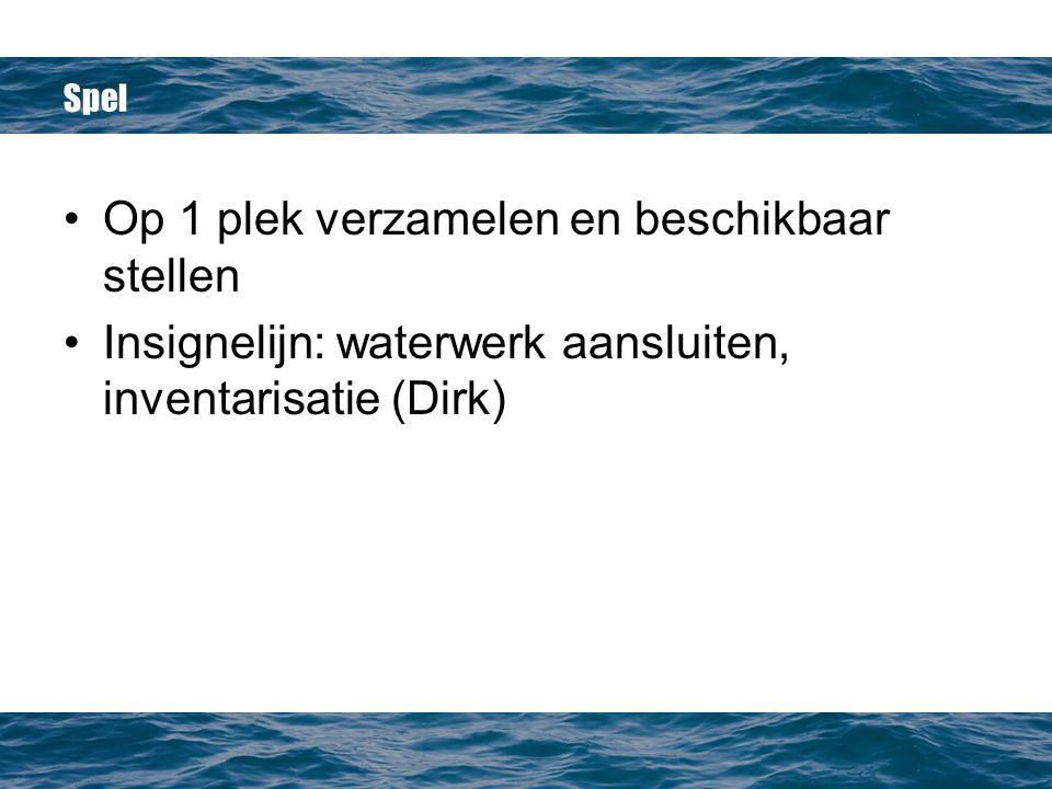 Spel Op 1 plek verzamelen en beschikbaar stellen Insignelijn: waterwerk aansluiten, inventarisatie (Dirk)