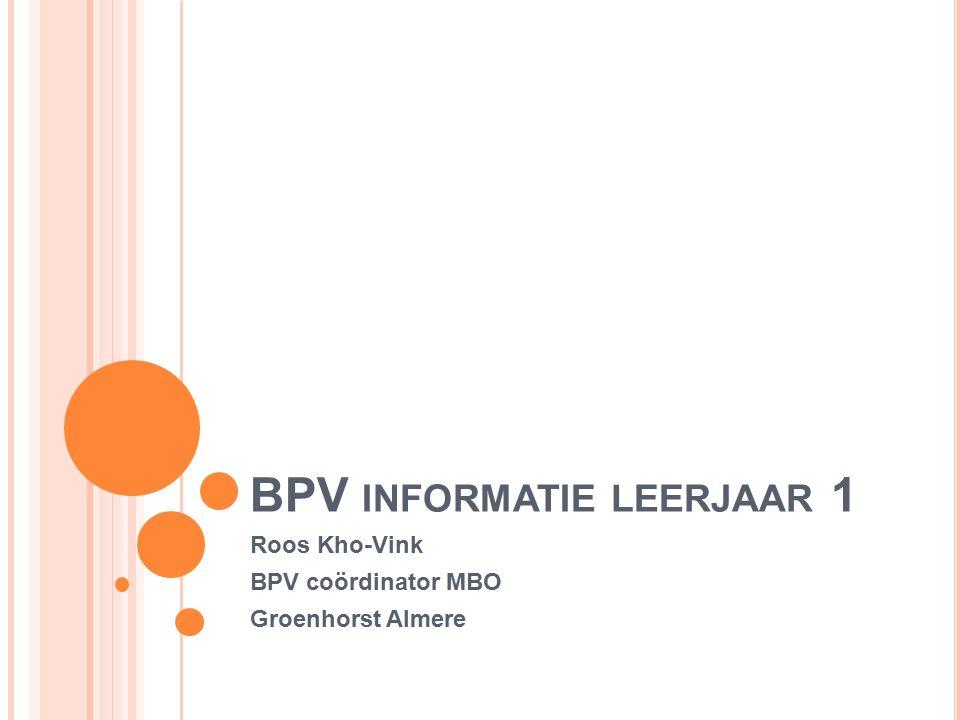 BPV INFORMATIE LEERJAAR 1 Roos Kho-Vink BPV coördinator MBO Groenhorst Almere
