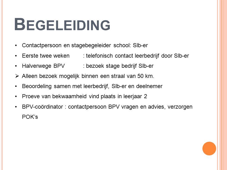 B EGELEIDING Contactpersoon en stagebegeleider school: Slb-er Eerste twee weken: telefonisch contact leerbedrijf door Slb-er Halverwege BPV: bezoek stage bedrijf Slb-er  Alleen bezoek mogelijk binnen een straal van 50 km.