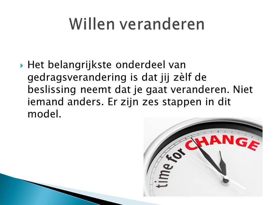  Het belangrijkste onderdeel van gedragsverandering is dat jij zèlf de beslissing neemt dat je gaat veranderen.