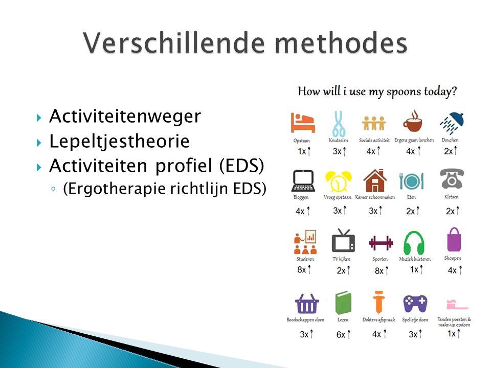  Activiteitenweger  Lepeltjestheorie  Activiteiten profiel (EDS) ◦ (Ergotherapie richtlijn EDS)