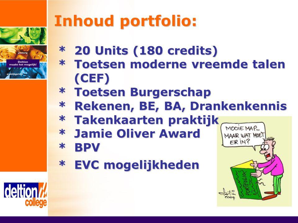 Inhoud portfolio: * 20 Units (180 credits) * Toetsen moderne vreemde talen (CEF) * Toetsen Burgerschap * Rekenen, BE, BA, Drankenkennis * Takenkaarten