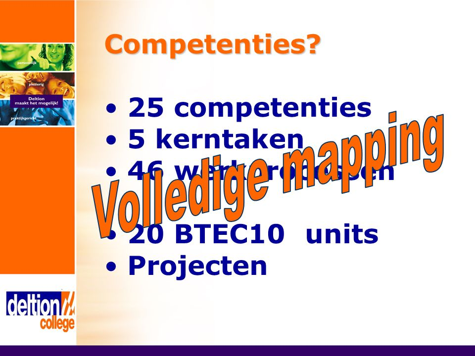 Competenties? 25 competenties 5 kerntaken 46 werkprocessen 20 BTEC10 units Projecten