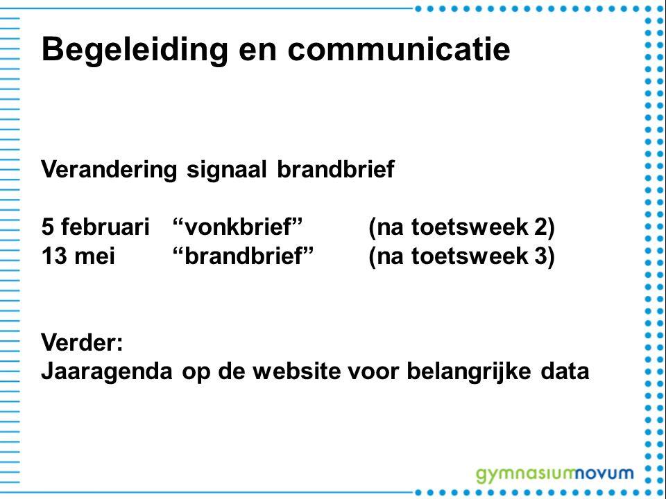 "Begeleiding en communicatie Verandering signaal brandbrief 5 februari""vonkbrief"" (na toetsweek 2) 13 mei ""brandbrief"" (na toetsweek 3) Verder: Jaarage"