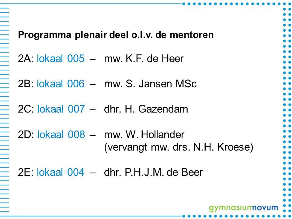 Programma plenair deel o.l.v. de mentoren 2A: lokaal 005 –mw. K.F. de Heer 2B: lokaal 006 –mw. S. Jansen MSc 2C: lokaal 007 –dhr. H. Gazendam 2D: loka