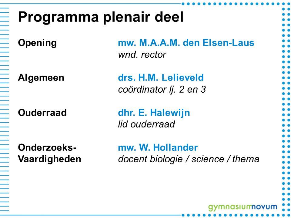 Programma plenair deel Openingmw. M.A.A.M. den Elsen-Laus wnd. rector Algemeen drs. H.M. Lelieveld coördinator lj. 2 en 3 Ouderraaddhr. E. Halewijn li