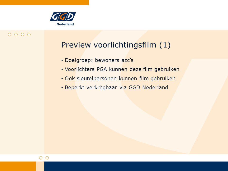 Preview voorlichtingsfilm (1) Doelgroep: bewoners azc's Voorlichters PGA kunnen deze film gebruiken Ook sleutelpersonen kunnen film gebruiken Beperkt verkrijgbaar via GGD Nederland