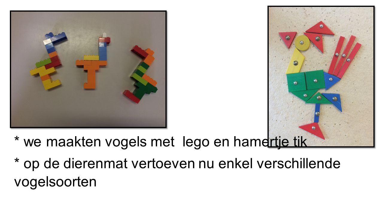 * we maakten vogels met lego en hamertje tik * op de dierenmat vertoeven nu enkel verschillende vogelsoorten