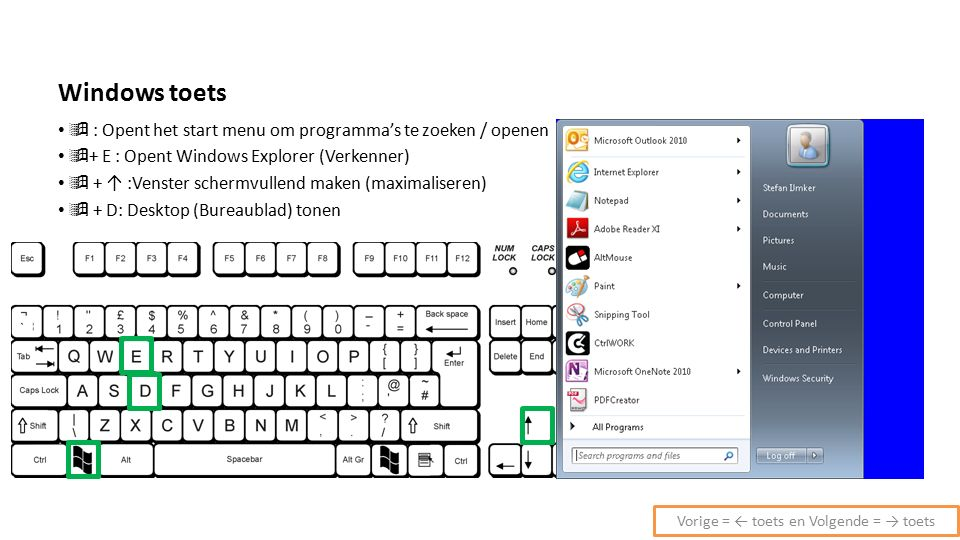 Windows toets  : Opent het start menu om programma's te zoeken / openen  + E : Opent Windows Explorer (Verkenner)  + ↑ :Venster schermvullend maken (maximaliseren)  + D: Desktop (Bureaublad) tonen Vorige = ← toets en Volgende = → toets