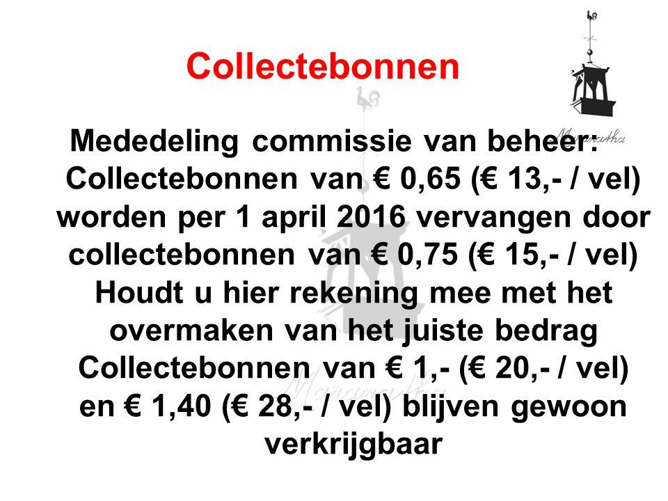 Mededeling commissie van beheer: Collectebonnen van € 0,65 (€ 13,- / vel) worden per 1 april 2016 vervangen door collectebonnen van € 0,75 (€ 15,- / vel) Houdt u hier rekening mee met het overmaken van het juiste bedrag Collectebonnen van € 1,- (€ 20,- / vel) en € 1,40 (€ 28,- / vel) blijven gewoon verkrijgbaar Collectebonnen