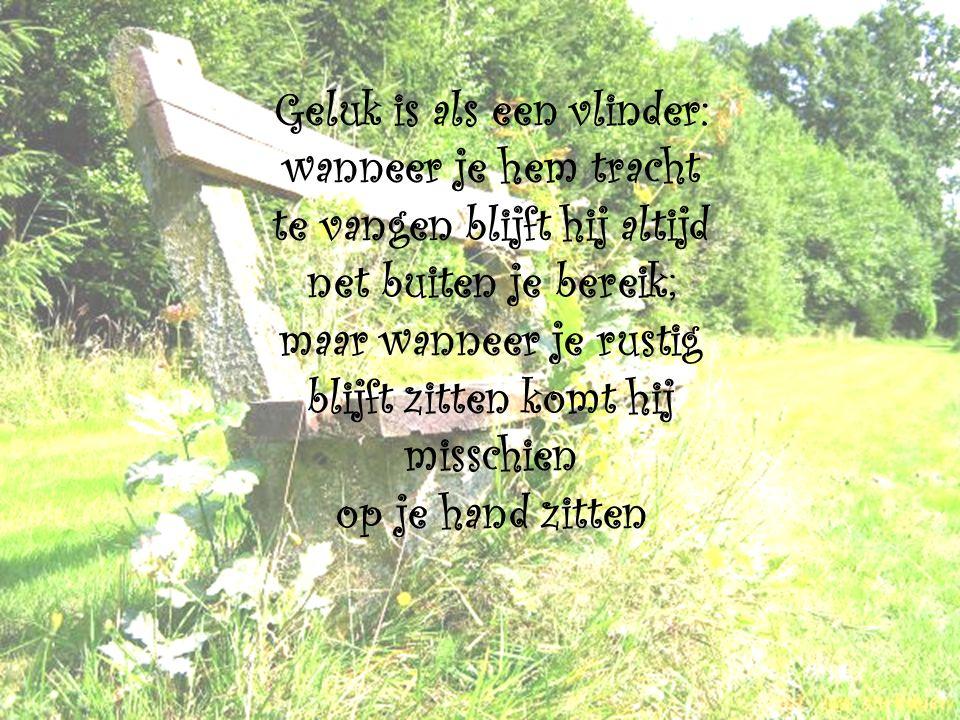Geluk is als een vlinder: wanneer je hem tracht te vangen blijft hij altijd net buiten je bereik; maar wanneer je rustig blijft zitten komt hij misschien op je hand zitten