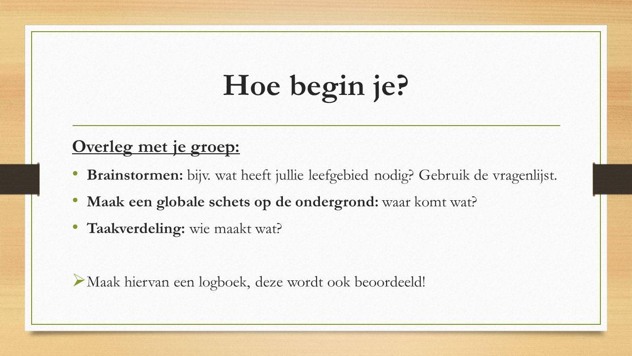 Hoe begin je? Overleg met je groep: Brainstormen: bijv. wat heeft jullie leefgebied nodig? Gebruik de vragenlijst. Maak een globale schets op de onder