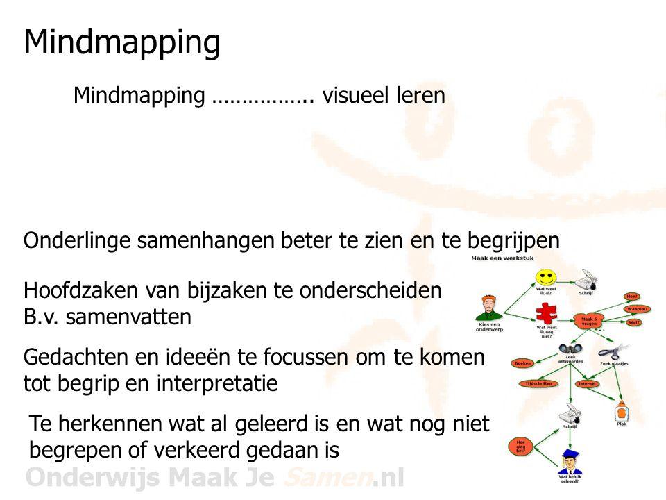 Mindmapping Mindmapping …………… visueel leren Brainstormen Plannen Ontwerpen Voorbereiden Inventariseren Structureren Verhelderen van denken Stimuleren van begrip Integreren van nieuwe kennis Herkennen van misvattingen Studeren