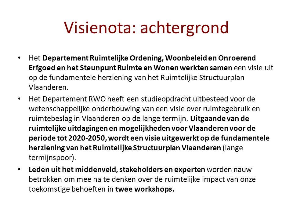 Visienota: achtergrond Het Departement Ruimtelijke Ordening, Woonbeleid en Onroerend Erfgoed en het Steunpunt Ruimte en Wonen werkten samen een visie uit op de fundamentele herziening van het Ruimtelijke Structuurplan Vlaanderen.