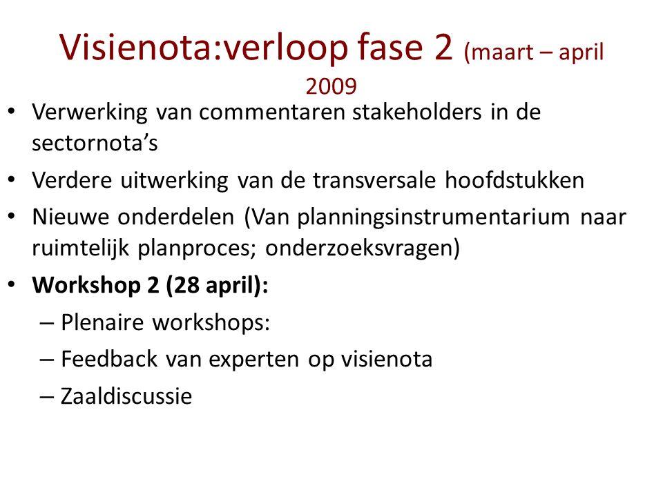 Visienota:verloop fase 2 (maart – april 2009 Verwerking van commentaren stakeholders in de sectornota's Verdere uitwerking van de transversale hoofdst