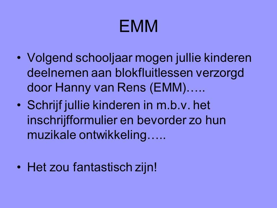 EMM Volgend schooljaar mogen jullie kinderen deelnemen aan blokfluitlessen verzorgd door Hanny van Rens (EMM)…..