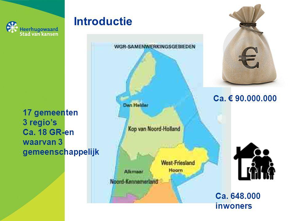 Introductie Ca. € 90.000.000 Ca. 648.000 inwoners 17 gemeenten 3 regio's Ca.