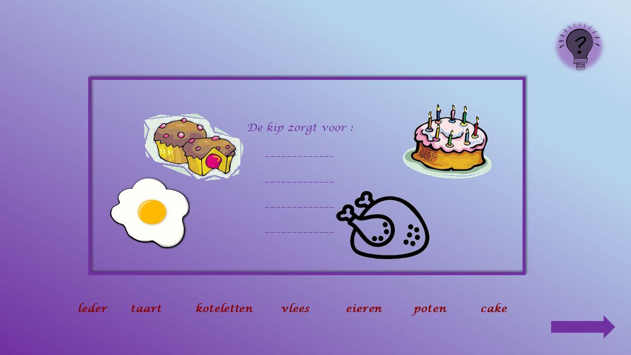 5. Teken het menu van de kip ! zaden – wormen – maïs – insecten 6.Wat is een kloek ? Een hen met kuikens 7. Waar slapen de kippen ? In hun hok op een