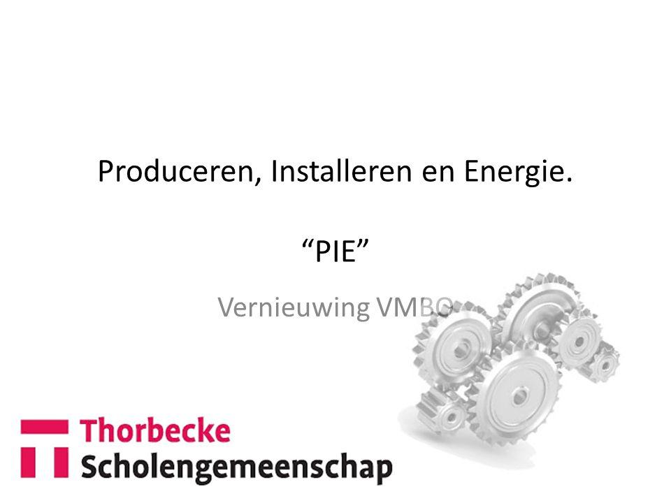 Produceren, Installeren en Energie. PIE Vernieuwing VMBO