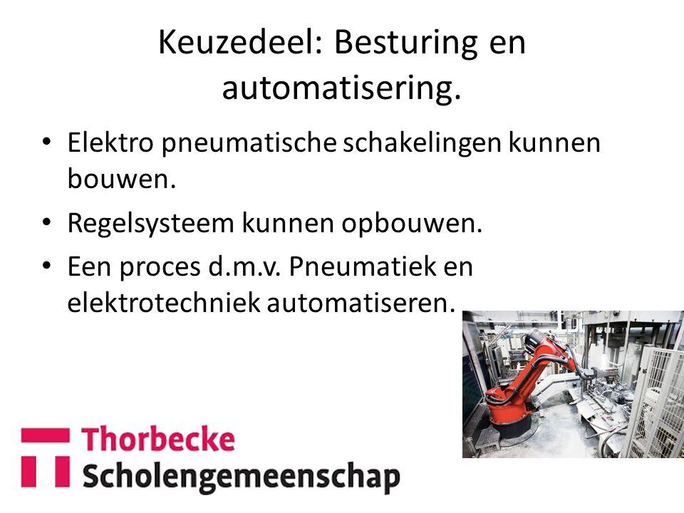 Keuzedeel: Besturing en automatisering.Elektro pneumatische schakelingen kunnen bouwen.