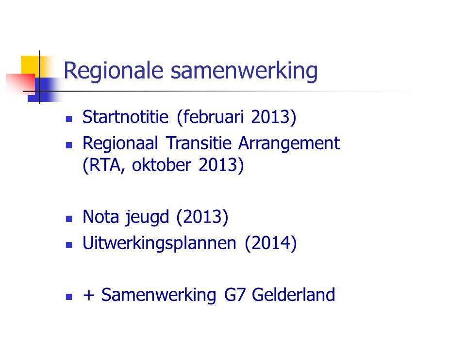 Regionale samenwerking Startnotitie (februari 2013) Regionaal Transitie Arrangement (RTA, oktober 2013) Nota jeugd (2013) Uitwerkingsplannen (2014) + Samenwerking G7 Gelderland
