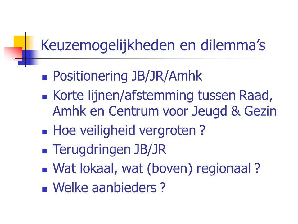 Keuzemogelijkheden en dilemma's Positionering JB/JR/Amhk Korte lijnen/afstemming tussen Raad, Amhk en Centrum voor Jeugd & Gezin Hoe veiligheid vergro