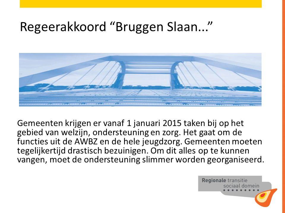 Regeerakkoord Bruggen Slaan... Gemeenten krijgen er vanaf 1 januari 2015 taken bij op het gebied van welzijn, ondersteuning en zorg.