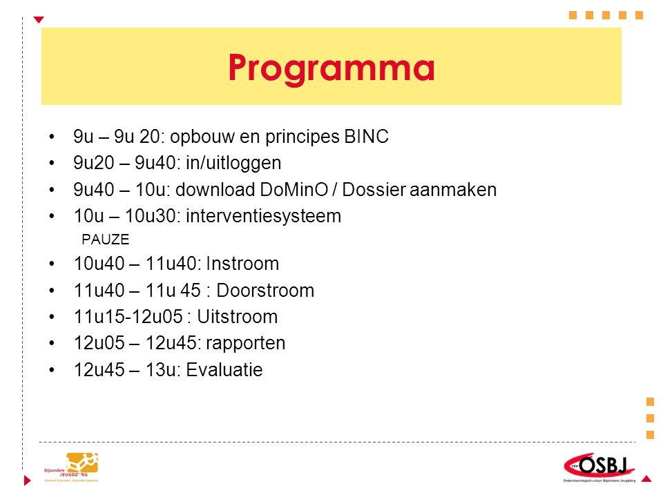 Programma 9u – 9u 20: opbouw en principes BINC 9u20 – 9u40: in/uitloggen 9u40 – 10u: download DoMinO / Dossier aanmaken 10u – 10u30: interventiesysteem PAUZE 10u40 – 11u40: Instroom 11u40 – 11u 45 : Doorstroom 11u15-12u05 : Uitstroom 12u05 – 12u45: rapporten 12u45 – 13u: Evaluatie