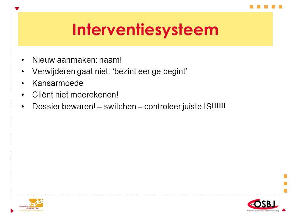 Interventiesysteem Nieuw aanmaken: naam.