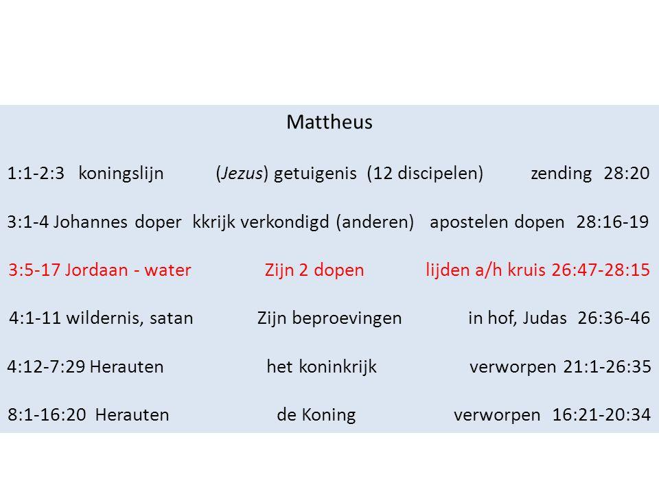 Mattheus 1:1-2:3 koningslijn (Jezus) getuigenis (12 discipelen) zending 28:20 3:1-4 Johannes doper kkrijk verkondigd (anderen) apostelen dopen 28:16-19 3:5-17 Jordaan - water Zijn 2 dopen lijden a/h kruis 26:47-28:15 4:1-11 wildernis, satan Zijn beproevingen in hof, Judas 26:36-46 4:12-7:29 Herauten het koninkrijk verworpen 21:1-26:35 8:1-16:20 Herauten de Koning verworpen 16:21-20:34